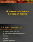 Presentation on Business Information and Decision Making