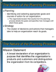 Presentation on Nature of the Planning Process