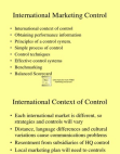 Project on International Marketing Control
