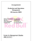 production and operation management on REDBULL