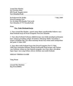 Contoh Surat Berhenti Kerja