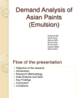 DEMAND ANALYSIS OF ASIAN PAINTS EMULSION