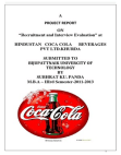 Resruitment & Interview Evaluatio in Hindustan Coca-cola Beverages Pvt.Ltd.