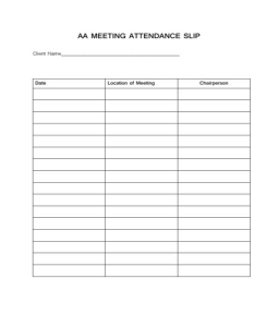 aa na meeting attendance sheet Success