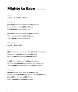 Guitar chords for mighty to save