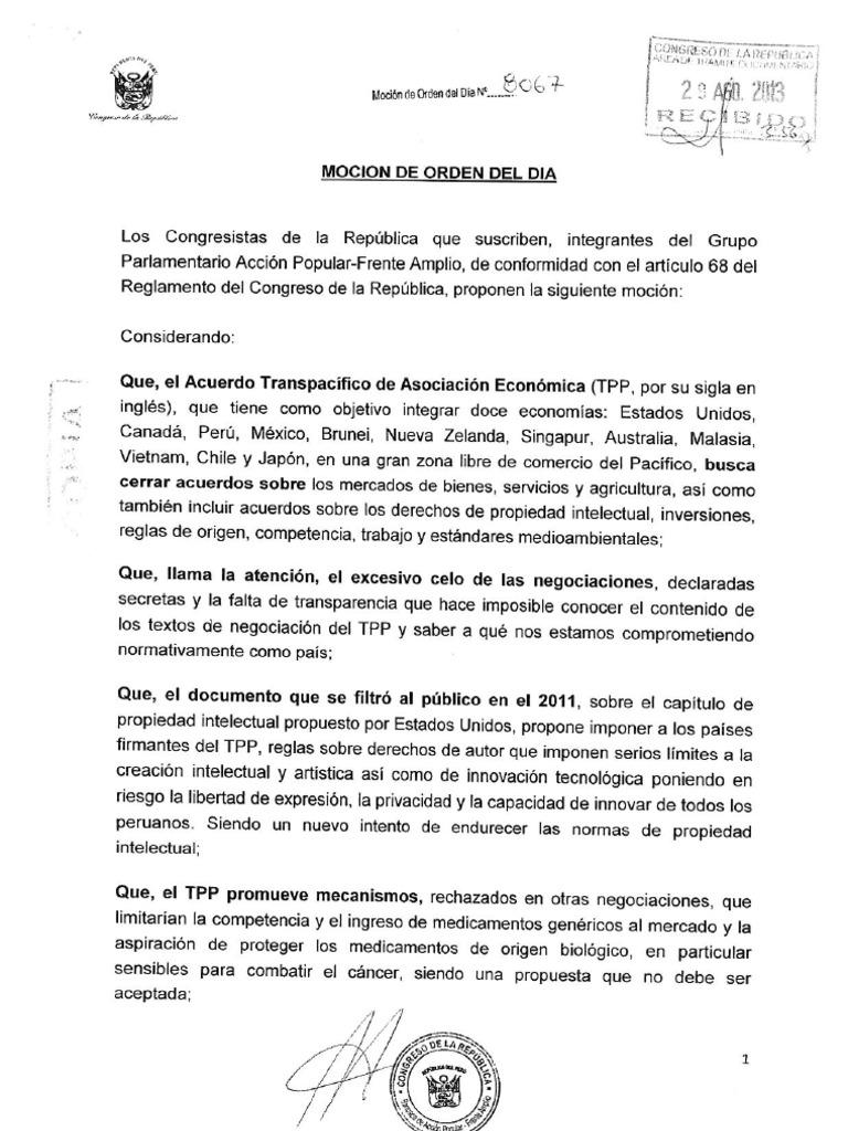 Parlamentarios peruanos presentan moción sobre TPP